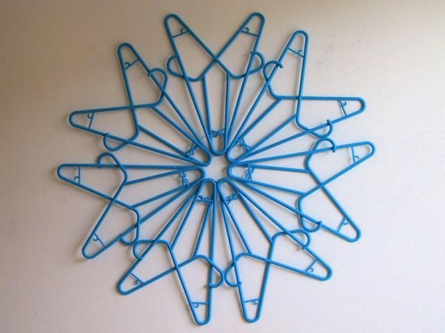 Blue Plastic Clothes Hangers Sculpture Snowflake