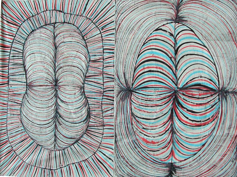 Twins-Acrylic on canvas by Edmond van der Bijl