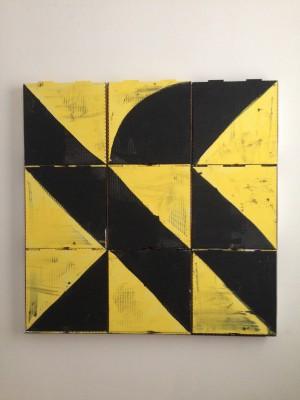 Pizza box painting by Edmond van der Bijl