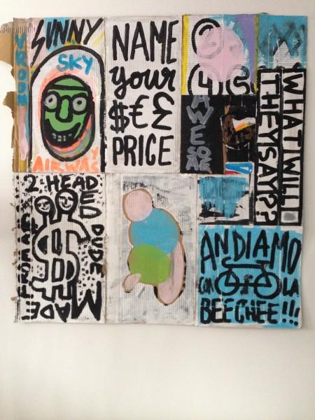Name YOur Price acrylic on cardboard by Edmond van der Bijl