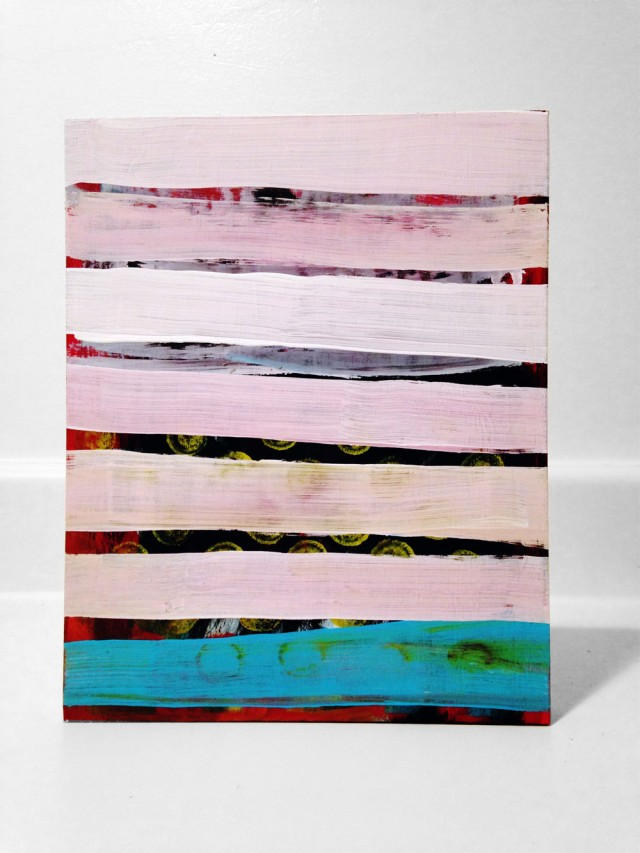 Pink Line 8x10 Wood Panel by Edmond van der Bijl