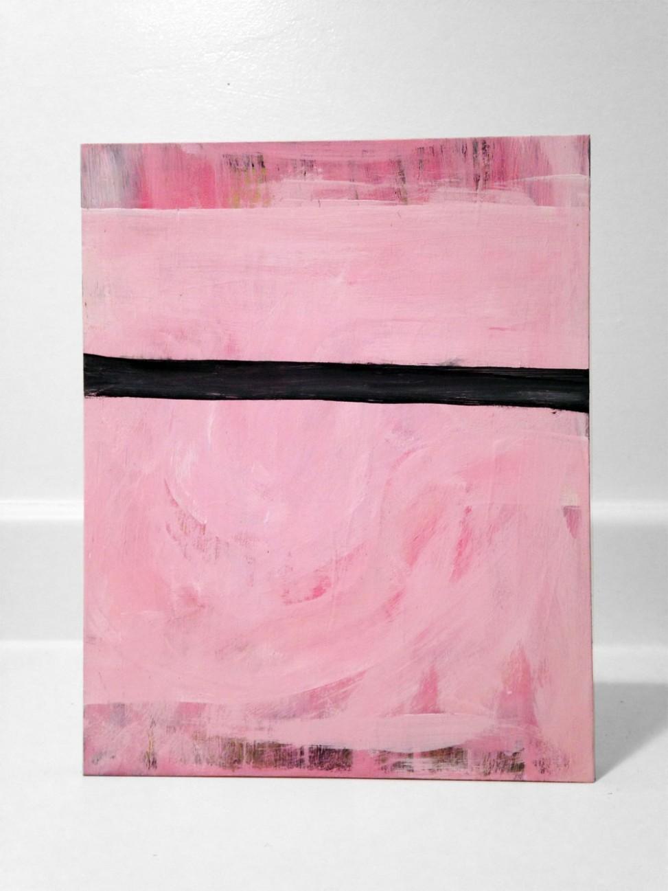 Pink Line 8x10 Wood Panel by Edmond van der Bijl