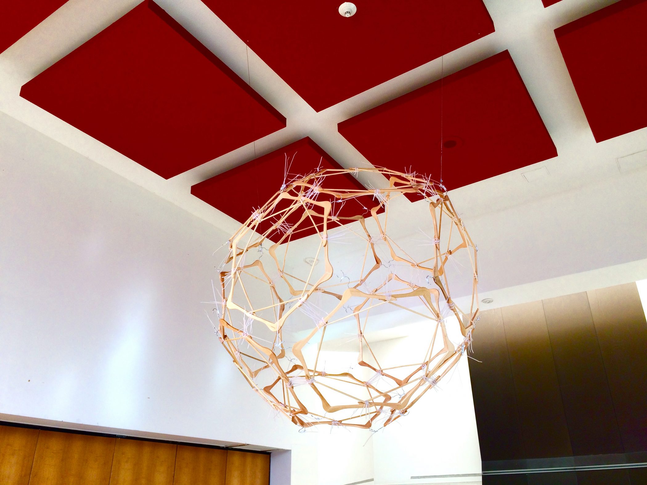 Edmond van der Bijl Cable tie and Wooden hanger global sphere sculpture for Green Night 2015 at the French Embassy, Washington DC